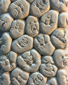 Detail of johnson_tsang_artists tower of squished baby faces wip johnsontsang art pottery ceramics sculpture porcelain doll dolls baby babies squishyface by beinartgallery on cyoot kittehs of teh day dreaming in black and white Sculptures Céramiques, Sculpture Art, Ceramic Sculptures, Sculpture Ideas, Modern Sculpture, Ceramic Pottery, Ceramic Art, Pottery Art, Johnson Tsang