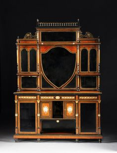 A kingwood, marquetry and gilt metal mounted side cabinet, in Louis XVI style, stamped G.DURAND, with a pierced gilt . Italian Furniture, Antique Furniture, Beveled Mirror, Marquetry, Louis Xvi, Marble Top, Auction, Porcelain, Bronze
