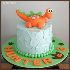 Dinosaur Cake   Theme: dinosaur  Cake: White chocolate mud  Filling: White chocolate ganache  Finish: Vanilla buttercream  Decorations: Hand made from fondant