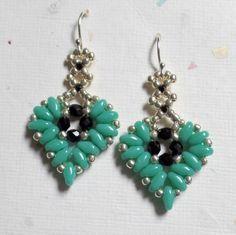 SuperDuo Beadwoven Earrings, Heart Earrings, Beaded Earrings, SuperDuo Beads,Seed Bead Earrings, Turquoise Jewelry, Mothers Day