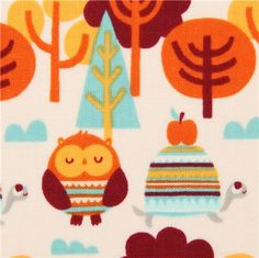 off-white forest animal fabric owl turtle Camelot