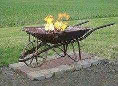Old wheel barrow fire pit