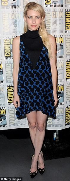 Leggy: The blonde beauty showed off her lean legs in a patterned blue frock and black pumps
