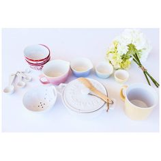 {Small Bowls (set) 39.99, Measuring Cups $19.99, Measuring Spoons $11.99,  Brie Baker $26.99, Berry Bowl $8.99, Soup Mug $9.99} Text (479) 251-0933 to order!