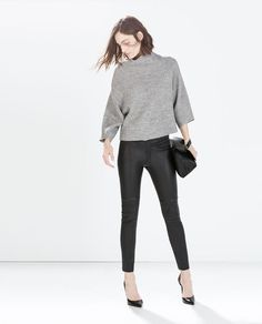 Image 1 of LEATHER SKINNY TROUSERS from Zara