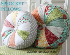 Best Out Of Waste | DIY Sprocket Pillows craft Idea From Waste Clothes | http://bestoutofwaste.org