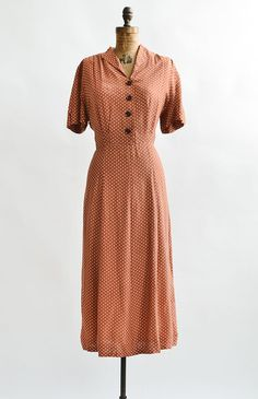 Wander and Linger Dress / vintage 1940s dress / 40s dotted day dress