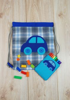 A little boy will be very glad to have such cool set of drawstring backpack and pen case! #kids, #kidsfashion, #forkids, #school, #airyfairybags
