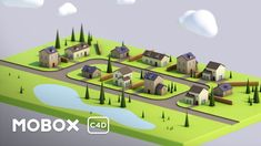 Low Poly Town 3D Modeling - Cinema 4D Tutorial