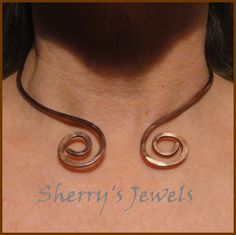Twin Spiral Patina'd Copper (or choose Brass or Bronze) Neck Ring Neckwire Collar Viking Torc Torq | SherrysJewels - Jewelry on ArtFire