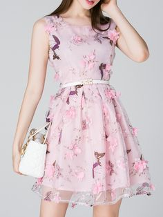 Buy it now. Pink Butterfly Print Applique Belted A-Line Dress. Pink Round Neck Sleeveless Polyester A Line Short Print Fabric has no stretch Yes Summer Casual Day Dresses. , vestidoinformal, casual, camiseta, playeros, informales, túnica, estilocamiseta, camisola, vestidodealgodón, vestidosdealgodón, verano, informal, playa, playero, capa, capas, vestidobabydoll, camisole, túnica, shift, pleat, pleated, drape, t-shape, daisy, foldedshoulder, summer, loosefit, tunictop, swing, day, offthes...