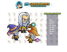 Wizards Game Sprites Set by DionArtworks on 2d Character Animation, Walk Run, Shooting Games, Game Assets, Sprites, Wizards, Character Illustration, Game Character, Website Template