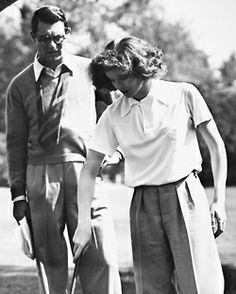 Cary Grant and Katharine Hepburn rehearsing on the set of Bringing Up Baby, 1937