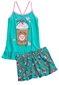 Scented Latte Pajama Set. With corny wordplay. Omg.