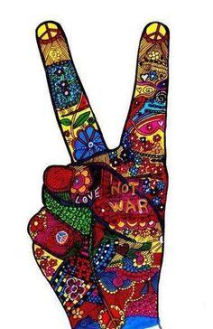 ☮ American Hippie Art ☮ Peace Sign .. Love Not War