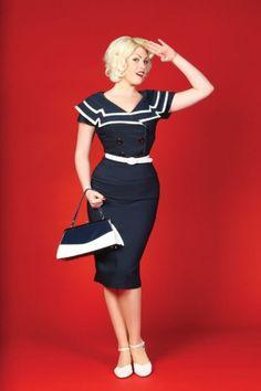 Bettie Page Clothing - 50s Captain Blue pencil dress