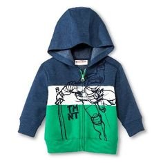 Teenage Mutant Ninja Turtles Infant Toddler Boys Color Block Zip-Up Hoodie - Green