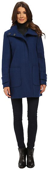 Kenneth Cole New York Funnel Neck Zip Front Wool Coat (in 3 colors)