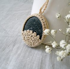 Crochet Stone Necklace  Crochet Jewelry  Lace by MariaKonstantin,