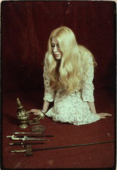 """MAXINE SANDERS - 1971 """"The Power of the Witch"""" - Still from rare British exploito documentary on the Occult & the unsolved murder of Charles Walton on Meon Hill. John William Waterhouse, Wiccan, Witchcraft, Pagan Altar, Season Of The Witch, White Witch, Mystique, Portraits, Book Of Shadows"""