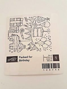 Stampin Up Packed for Birthday Rubber Mounted Wood. Retired New Pinata Pennant Stamping, Packing, Coding, Birthday, Wood, Bag Packaging, Birthdays, Woodwind Instrument, Timber Wood