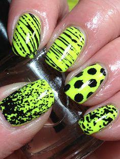 Easy Beautiful Nail Art Designs 2015 would be fun for Jurassic World viewing Funky Nails, Neon Nails, Trendy Nails, Love Nails, Diy Nails, Bright Nails, Lime Green Nails, Yellow Nails, Black Nails
