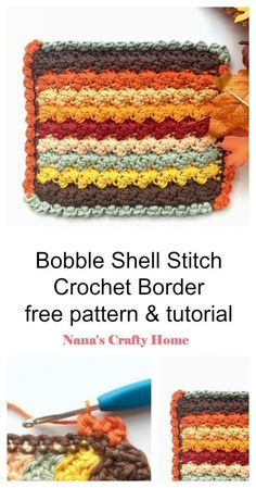 Learn how to crochet the Bobble Shell Stitch Border with this complete tutorial!  An easy and fun border that has a nice simple texture - perfect addition to any blanket!  #nanascraftyhome Learn To Crochet, Diy Crochet, Crochet Hooks, Crochet Border Patterns, Crochet Designs, Different Crochet Stitches, Crochet Projects, Diy Projects, Crochet Accessories