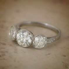 Three Stone Bezel Set Diamond Ring - Estate Diamond Jewelry Collection