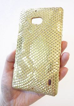 NEW Nokia Lumia Icon 929 Designer Shimmer Gold Snake Leather Phone Case Cover by Yunikuna