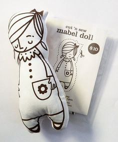 Items similar to Make Your Own Mabel Doll Cut 'n Sew Kit on Etsy Fabric Toys, Fabric Crafts, Sewing Crafts, Sewing Projects, Fabric Doll Pattern, Doll Patterns, Softies, Little Presents, Fabric Markers