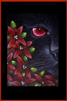 Cat Art...=^. ^=... ❤...Black Cat Behind the Flowers by Artist Cyra R. Cancel...