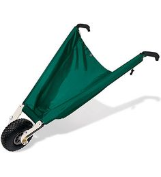WheelEasy: Sweep or rake directly into this soft-sided canvas wheelbarrow which lies flat on the ground, has a low center of gravity and folds flat for storage.