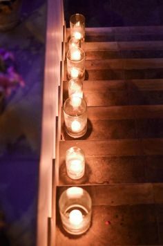 On our outdoor stairs to the deck this summer. Outside Stairs, Outdoor Stairs, Candels, Creative Crafts, Light Up, Party Time, Fun Ideas, Party Ideas, Wedding Decorations