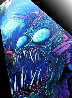 Custom Skateboard Art Angler Fish Painting Original by SAXONLYNN, $250.00 Custom Skateboards, Cool Skateboards, Skateboard Design, Skateboard Art, Fish Wall Art, Skate Art, Surfboard Art, Angler Fish, Airbrush Art