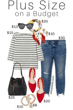 Plus Size on a Budget - Parisian Chic - Distressed Jeans, Scarf, Striped Top, Red Flats, Bucket Bag - Plus Size Summer i Mode Outfits, Chic Outfits, Spring Outfits, Fashion Outfits, Ladies Outfits, Dressy Outfits, Skirt Outfits, Look Plus Size, Plus Size Casual
