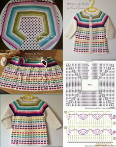 [ Lovely and Inspirational crochet, Discover thousands of images about Cardigan, Rocio Crochets added a new photo., love the little harts.Ideas crochet jacket toddler cardigan sweaters for round neck yoke chart for all sizes from baby to Cardigan Au Crochet, Cardigan Bebe, Crochet Yoke, Crochet Girls, Crochet Baby Clothes, Crochet Jacket, Crochet Round, Crochet Chart, Love Crochet