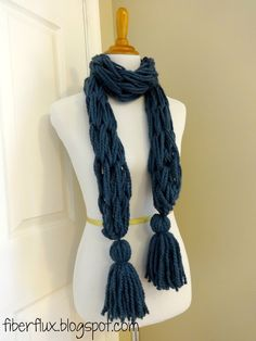 Arm Knit Tassel Scarf by Fiber Flux using Wool-Ease Thick and Quick.