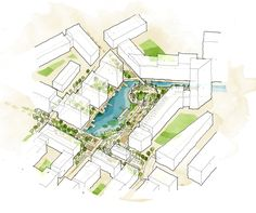Pin by marta zuzga on urban planning проекты Site Design, Urban Design, Resort Plan, Hotel Sites, Urban Ideas, Urban Fabric, Landscape Architecture Design, Site Plans, Arquitetura