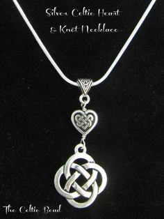 Silver Celtic Knot Heart and Irish Knot Necklace