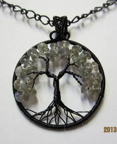 Blue Fire Labradorite Tree of Life by Mariesinspiredwire on Etsy, $36.00