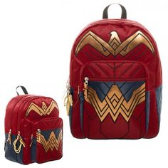 The Batman v Superman: Dawn of Justice Wonder Woman Backpack lets you carry your stuff in style. It is designed from Wonder Woman's scarlet and gold armor, so Red Backpack, Backpack Bags, Fashion Backpack, Duffel Bags, Laptop Backpack, Travel Backpack, Moda Geek, Superman Wonder Woman, Wonder Woman Logo