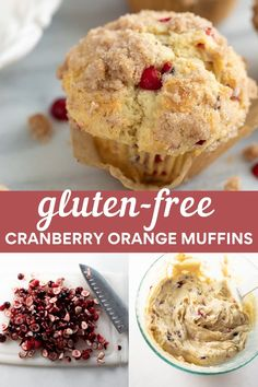 These gluten-free cranberry orange muffins are bursting with fresh cranberries and orange zest and topped with sweet streusel. Make them for a holiday treat or gluten-free Christmas breakfast! Gluten Free Oatmeal, Gluten Free Muffins, Healthy Muffins, Gluten Free Baking, Healthy Desserts, Cranberry Oatmeal Muffins, Oatmeal Raisin Muffins, Cranberry Orange Cookies, Christmas Snacks