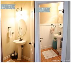 Powder room makeover with beadboard and grasscloth wallpaper - www.meadowlakeroad.com