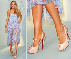 Nude t-strap Christian Louboutin platform peep toe heels. OMG...these are beautiful shoes!