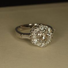 """Handmade Art Deco Diamond """"Flower"""" Engagement Ring (18k White Gold)"""