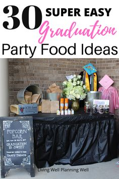 These are the BEST graduation party food ideas for buffet style or outdoor graduation parties for high schoolers. Graduation Party Desserts, Outdoor Graduation Parties, Graduation Party Planning, Graduation Party Themes, Graduation Party Invitations, Invites, High School Parties, Theme Ideas, Party Ideas