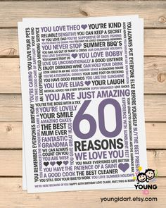 60th Birthday Print 60 Reasons We Love You by YoungidArt on Etsy