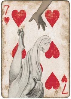 Card from 'Playing with a full deck' art show - now showing in Cannon Beach, Oregon.  25 decks of cards, each card an original work of art by Liz Cohn.  Super cool!
