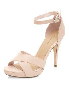Pale Pink Cross Strap Platform Heels  | New Look