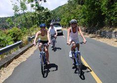 Biking down Tantalus Rd